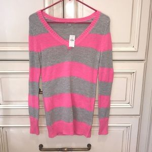 NWT Pink and gray striped sweater